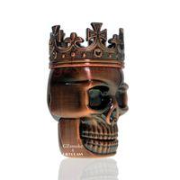 Zinc Alloy King Skull Shape Grinder Metal Tobacco Grinders Smoking Herb 3 Layers Ghost Head 2 Colors