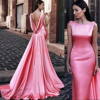 Sexy Günstige Simple Pink Mermaid Abendkleider Lange Scoop Neck Open Back Sweep Zug formales Kleid Abendkleider Robe vestidos