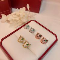 Kadınlar Lüks Panther Düğün Takı Leopar Küpe için S925 gümüş leopar baskı Kulak Studs kalitesi Popüler yüksek Moda Parti Takı