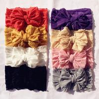 어린이 헤어 액세서리 아기 소녀를위한 큰 bowknot 레이스 머리띠 머리를위한 머리띠 빈티지 키즈 모자 8 색