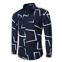 La conception géométrique irrégulière a imprimé les chemises occasionnelles à manches longues des hommes de mode façonnent des chemises de style pour le vêtement d'homme