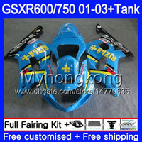 + Бак для SUZUKI GSXR 600 750 GSXR-750 GSXR600 2001 2002 2003 294HM.40 GSX R750 R600 K1 GSX-R600 GSXR750 01 02 03 обтекатель голубой rizla акции