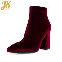 JK 2018 Czarowne Botki Kostki Marka Design Velvet Autumn Boots Sexy Hoof High Heel Kobiety Buty Side Zipper Kobiet Zimowe Obuwie