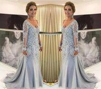エレガントな長袖の花嫁のドレス2019 Vネックフォーマル新郎ゴジマサのイブニングウェディングパーティゲストガウンプラスサイズカスタムメイド