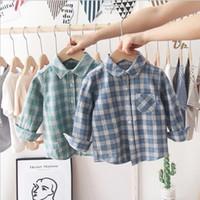 Baby Plaid Hemden Kinder Jungen Mädchen Langarm Tops Baumwolle Umdrehen Kragen Bluse Gitter Casual T-Shirts Kleinkind Boutique Gentleman Anzug YP624