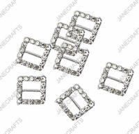 15mm 30pcs Square Rhinestone Buckle Slider de cinta de invitación para suministros de boda Conectores de bikini de diamantes de imitación de color plateado