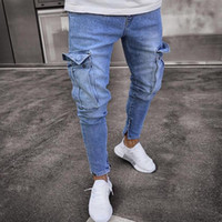 Jeans da uomo Trend Knee Hole Zipper Feet Pantaloni 2018 Hi-Street Men Knee Eversion Strappato Big Hole Men Jeans Streetwear Pants