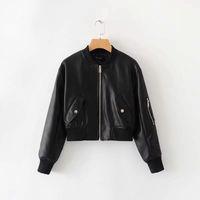 Женщины кожаная куртка Повседневный мягкий PU молния пальто сплошной цвет весной и осенью моды Байкер Мотоцикл Slim Fit куртки