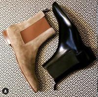Sporty-luxe Brand Men Casual Flats Boots Zapatos con fondo rojo Roadie Flat para hombres Botines Botas cortas, vestido de novia para hombres Zapatos de cuero