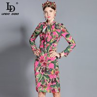490a7e2e2cc0 wholesale New 2019 Fashion Runway Dress Women s Long Sleeve Bow Collar  Elegant Fig Printed Midi Slim Dress