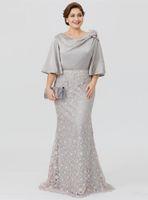 2019 плюс размер мать невесты платья половины рукава на молнии задние свадьбы гостевые платья русалка кружева вечерние вечеринки