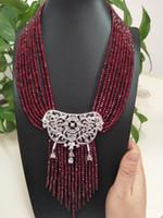 Vente chaude nouveaux naturels 9 rangs 2x4mm jade rouge micro incrusté collier pendentif pompon zircon bijoux de mode