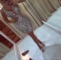 2019 nieuwe ontwerp glitz bling pailletten kristallen mini korte cocktail jurken plunging halter halslijn homecoming prom feestjurken CD015