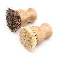 Handheld legno Spazzola manico rotondo pennello piatto Sisal Palm piatto Faccende Bowl Pan Scovolini per pulizia della cucina Rub per pulizia in LX1891
