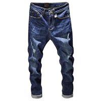 Marka Denim Biker Jeans Erkekler Slim Fit Vintage Erkekler Elastik Denim Pantolon Skinny Jeans Erkekler için Ripped Jeans Yıkanmış