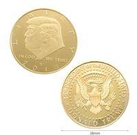 Donald Trump Mantenha América Grande 2020 moeda de ouro prata banhado Impressionante Proof Moedas comemorativas moeda com acrílico Caso favores reunião do partido