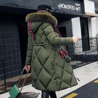 Büyük Kürk Kışlık Ceket Kalınlaşmış Parka Kadınlar Dikiş İnce Uzun Kış Ceket Aşağı Pamuk Bayanlar Aşağı Parka Aşağı Ceket Kadınlar