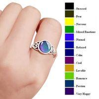 Hot Selling 925 de prata anel de tamanho mix humor muda de cor para a sua temperatura revelar seu interior emoção barata anel de dedo de jóias em massa