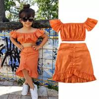 INS Bebek kız yaz kıyafetler 2020 yeni Bebek Çocuk çiy omuz saçak kısa kollu gömlek + saçak etek 2 adet çocuk pamuk turuncu seti A2263