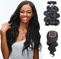 Viya 9a волна тела человеческие пачки волос с швейцарским кружевным закрытием 4 * 4 дюйма бразильских волос REMY наращивания волос могут быть окрашены