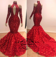 Sexy Red 3D Floral Mermaid African Prom Dresses 2K19 High Ne...