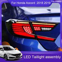 1set Car Styling для Honda Accord 10-й хвостовой свет 2018-19 Светодиодные задние фонари задняя лампа DRL светодиодный стример рулевой свет тормозные обратные аксессуары