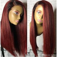Burgundy Wig Synthetic Lace Front Ombre Color 99j Straight G...