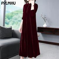 Plus Size 5XL 6XL Samtkleid Frauen 2020 neue beiläufige Mom lose Maxi Robe Red Long Sleeves Solid Color Winter Party Vestidos