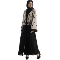 الملابس العرقية عباية فساتين دبي الإسلامية والنساء الدانتيل 2021 مفتوحة الأمامية سترة التطريز الإسلامية فستان ماكسي