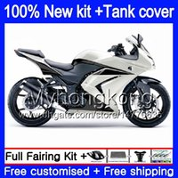 + Tank voor Kawasaki ZX250R EX250 08 09 2010 2011 2012 201My.125 Pearl White EX 250 ZX 250R EX-250 ZX-250R EX250R 2008 2009 10 11 12 Kuip
