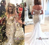 2019 New Vintage Off the Shoulder Lace Mermaid Wedding Dress...