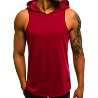 Hooded Fashion Loose Mens Tank Summer Mens Sleeveless Solid ...