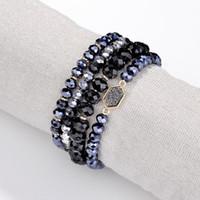 4 pièces / ensemble perles de verre à facettes bracelet élastique perles empilées ensemble Druzy ovale quartz Résine Bracelets pour femmes à la main perlé Bracelets