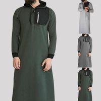 Islamique arabe musulman Sweat-shirt 2019 hommes à manches longues à capuche avec poche Abaya Saudi Arabian Robe longues Sweat hommes musulmans habillement1