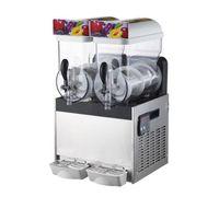 Livraison gratuite à 110/220 V 2 * 15L boissons glacées commerciales de fonte de neige machine à deux cylindres en acier inoxydable neige boue machine lait Tea Shop