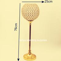 Новый романтический роскошный стиль хрустальный шар золотой хрустальный высокий канделябры для свадебного центральная часть сеню0098