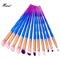 Halu 12 Unids Slim Purple Mermaid Brushes Set Profesional Base de Maquillaje Suave Pincel Para Sombras de ojos y Ojos Lip Liner Powder Maquillaje
