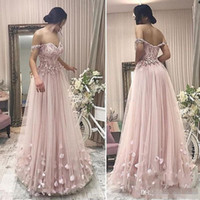 light pink A Line Prom Dresses 2019 Off Shoulder Lace Appliq...