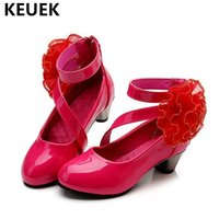 NEW Children Dance Shoes High- heeled Leather Shoes Girls Pri...