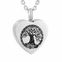 ZZL137 HEART CREMATION PENDANT - شجرة الحياة نمط المطبوعة غير القابل للصدأ قلادة الحرق جرة قلادة للرماد البشري / الحيوان التذكار