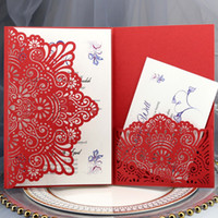 RSVP 카드 포켓, 레드 중공 신부 샤워 초대장 저녁 식사 초대장과 독특한 레이저 컷 청첩장 봉투와 초대장