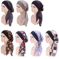 Женщины Тюрбан Hat 7 цветов мусульманского Хиджаб цветок печатных Тюрбан Крышка платке Wrap Деревообрабатывающий Strech Бандан LJJO7656