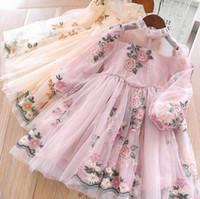 Девушки кружевные марлевые цветы вышитые платья 2019 весна детские кружева утомлены принцесса платье детей рюшами воротник с длинным рукавом платья партии f404
