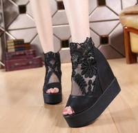 Moda Tatlı Dantel Roma Ayakkabı kadın Kama Topuklu Beyaz Platformu Pompaları Yüksek Topuklu Sandalet Zapatos Plataforma Mujer Encaje boyutu 34-39