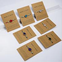 14pcs esprimere un desiderio colorato Woven pietra naturale carta di carta regolabile Bracciale di Lucky Bracciali Donna gioielli di moda semplice