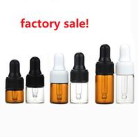 1500 unids 1 ml 2 ml 3 ml botellas de gotero de vidrio botella de aceite esencial, frascos de perfume pequeños, contenedor de almacenamiento de muestras al por mayor