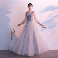 우아한 그레이 아시아 자수 청산 lLong 드레스 Vestidos Chinos 동양 Qipao 이브닝 드레스 클래식 파티 드레스 사이즈 XS - 3XL