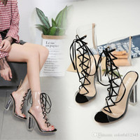Sexy2019 Summer Transparent High Heel Lady' s Shoes Cros...