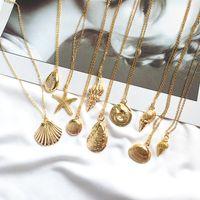 Collier en alliage de cauris à la mode en or couleur pour femmes conch chaîne collier pendentif collier de bijoux d'été collier étoile de mer
