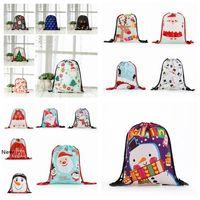 Sacs de Noël Drawstring Backpack 3D Imprimer Emballage Sac cadeau Père Noël Sac Goody Treat sacs de sport Pochette Party Favors Décor RRA2586